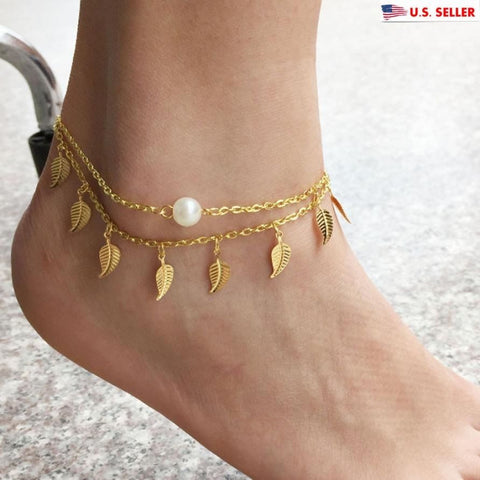 USA 18k Gold Plated Women Leaves Pearl Beach Barefoot Foot Jewelry Anklet Chain