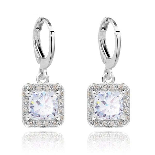White Gold Platinum Plated Square Style Zircon Crystal Hoop Wedding Earrings