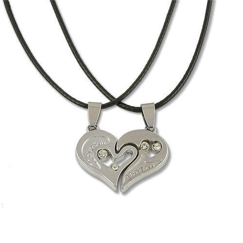 Unique Heart Shape Couple I Love You Stainless Steel Pendant Leather Necklace