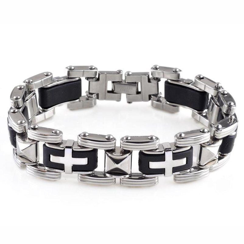 USA New Men Silver Titanium Steel Black Rubber Cross Bracelet Bangle Wristband
