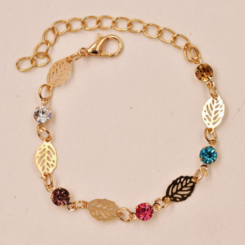 USA Retro Simple Women Girl Jewelry Rhinestone Leaf Chain Bracelet Bangle Gift