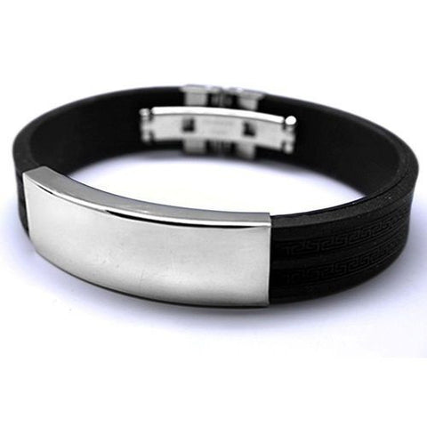 black Silicone  & Silver Stainless Steel Men's  Bracelet Wristband Cuff Bangle