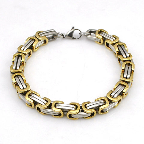 6mm Silver & Gold Stainless Steel Byzantine Link Chain Bangle Men's Bracelet