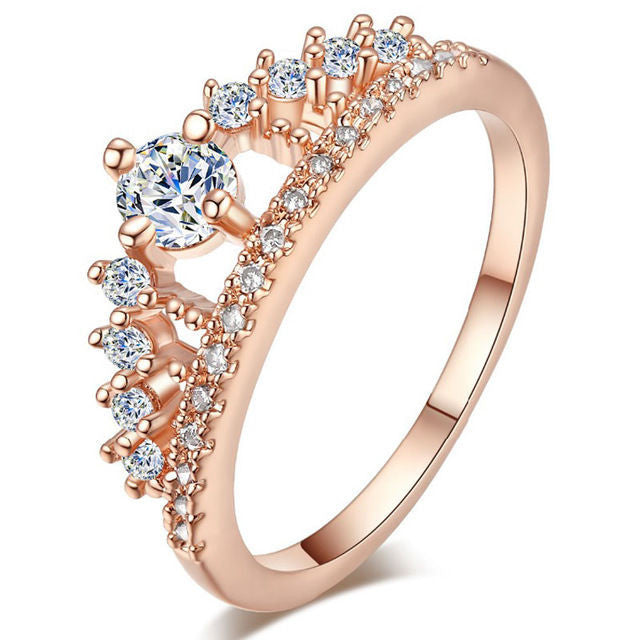 New Fashion Women Cute Austrian Crystal Crown Ring Elegant Luxury Princess Ring