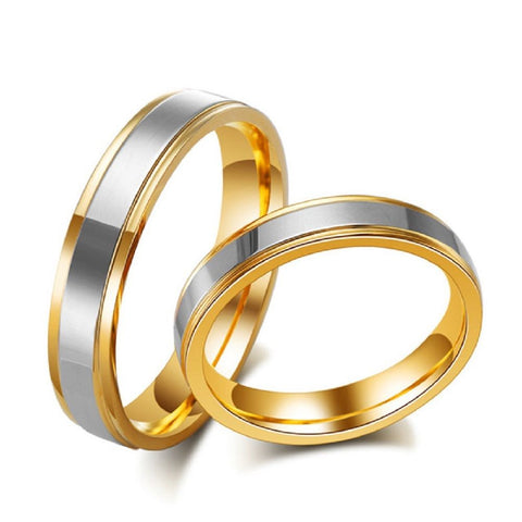 2PCS Gold Plated Stainless Steel Couple Ring Promise Engagement Wedding Rings