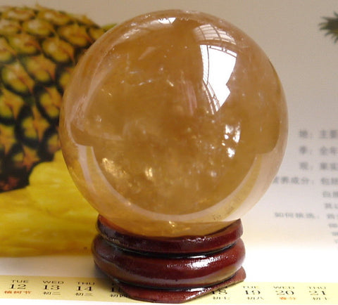 40mm+Stand Natural Citrine Calcite Quartz Crystal Sphere Ball Healing Gemstone