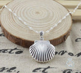 USA Silver Plated Picture Locket Hollow Seashell Photo Pendant Chain Necklace