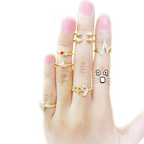 USA 7pcs Women Lady Skull Anchor Gold Knuckle Midi finger Stacking Ring Set
