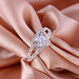 USA Women Lady Elegant Heart Crystal Silver Plated Wedding Ring Band Couple Ring