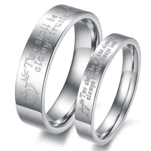 USA 2PCS Titanium Stainless Steel Love Letter Couple Rings Promise Love Rings