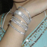 1Pcs Women's Silver Plated Crystal Rhinestone Bangles Party Jewelry Bracelet