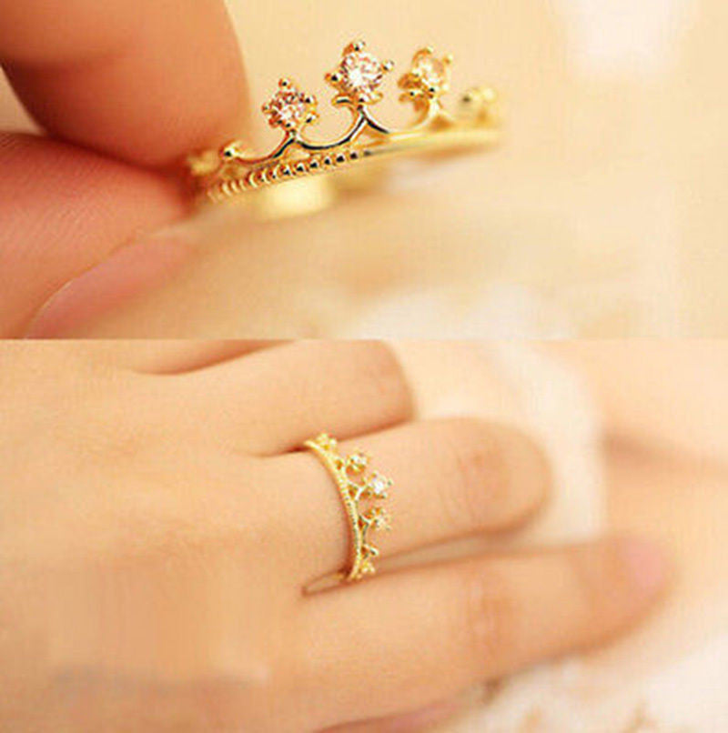 USA New Fashion Gold/Silver Plated Shiny Princess Women Rhinestone Crown Ring