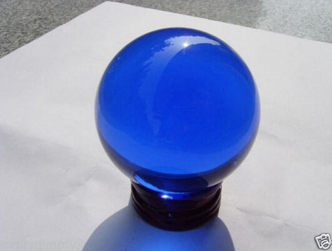 USA 40mm +Stand Asian Rare Natural Blue Magic K9 Crystal Healing Ball Sphere