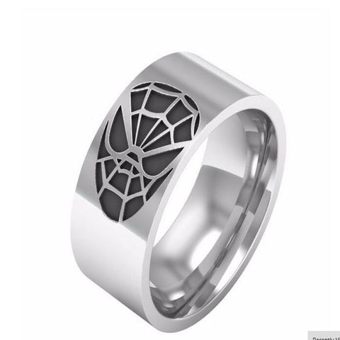 10mm Men Spiderman Stainless Steel Ring Comfort Fit Wedding Engagement Ring Band