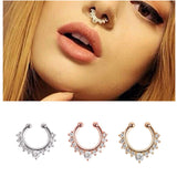 Hoop Jewelry Septum Clip-On Fake Nose Ring Clicker Non-Piercing Crystal Hanger