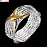 USA Women Lady Girl Silver Plated Criss Cross Micro Pave Setting White X Ring