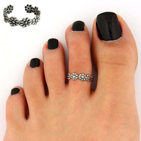 US Retro Flower Adjustable Toe Ring Finger Ring Open Foot Beach Ring Jewelry