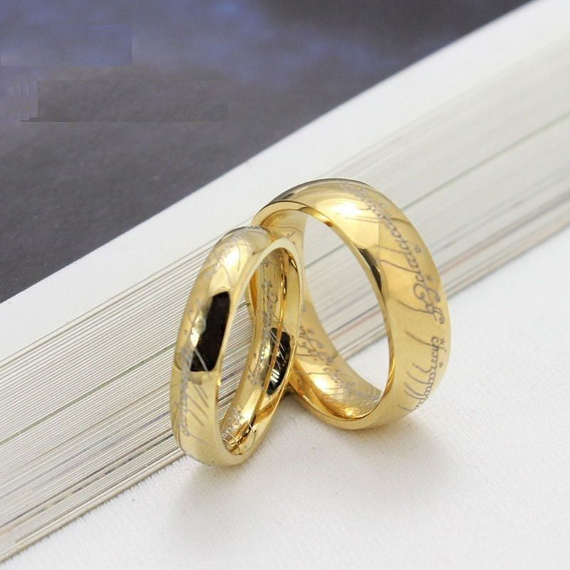 USA 2PCS Lord of The Rings 18K Gold Titanium Steel Couple Ring Set Matching Ring