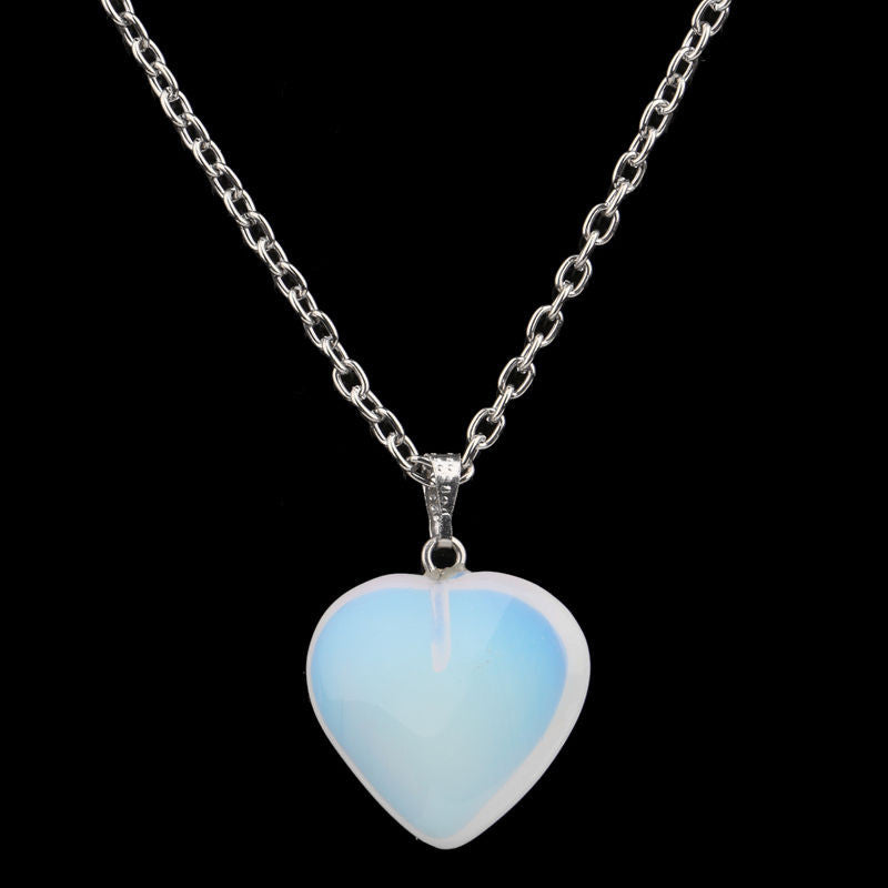 USA White Opal Heart Simulated Quartz Stone Pendant Necklace Party Wedding Charm