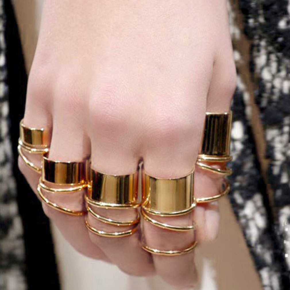 9PCS Gold Tone Punk Wide Band Ring Stack Plain Knuckle Midi Mid Rings Set