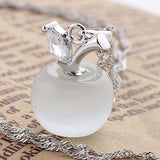 US Fashion Women Silver Plated Necklace Charm Small Apple Opal Pendant Necklace