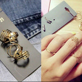 6Pcs Set Midi Above Knuckle Ring Band Gold Plated Tip Finger Stacking Size 6-8