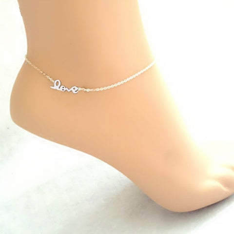 Silver Plated Love Letter Anklet Chain Ankle Charm Bracelet Foot Jewelry