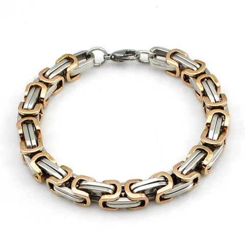 6mm Rose Gold & silver Stainless Steel Byzantine Link Chain Men's Bracelet