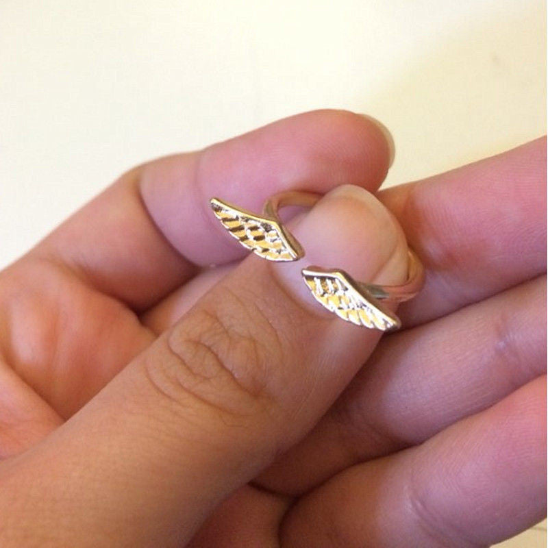 USA Adjustable Shiny Angel Wing Classic Fashion Gold Silver Plated Ring