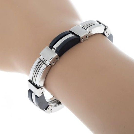 USA Men Black Silicone Silver Stainless Steel Link Chain Wristband Bracelet