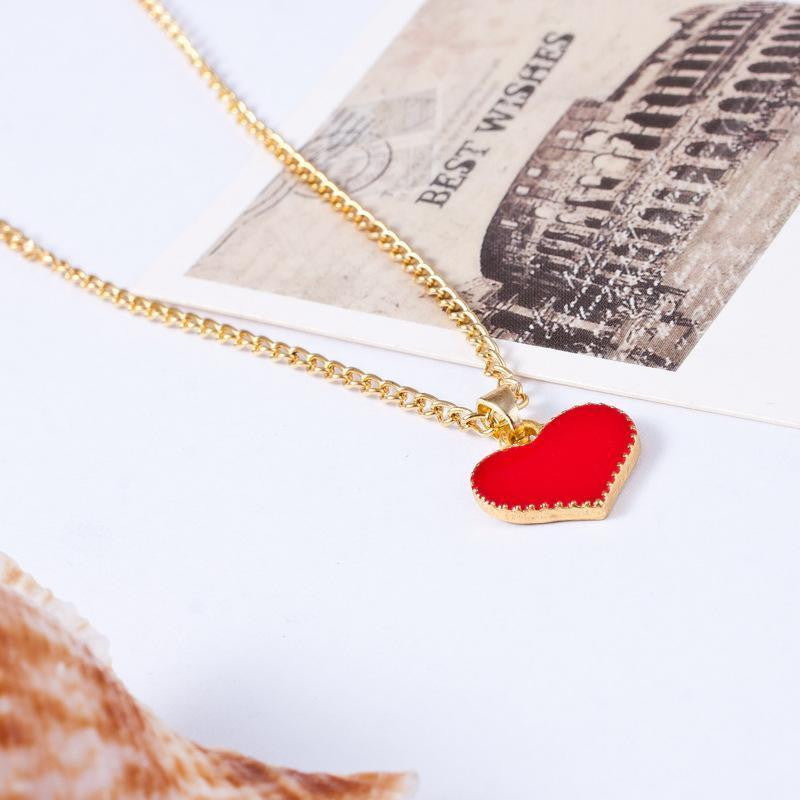 USA 18K Gold Plated White Black Red Heart Shape Pendant Necklace Chain Jewelry