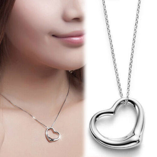 USA Fashion Silver Plated Chain Heart Shape Women Necklace Heart Pendant