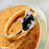Women's Unique Cute Enamel Cat Animal Blue Crystal Eyes Opening Adjustable Ring