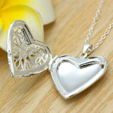 Woman Silver Plated Picture Locket Hollow Heart Photo Pendant Chain Necklace