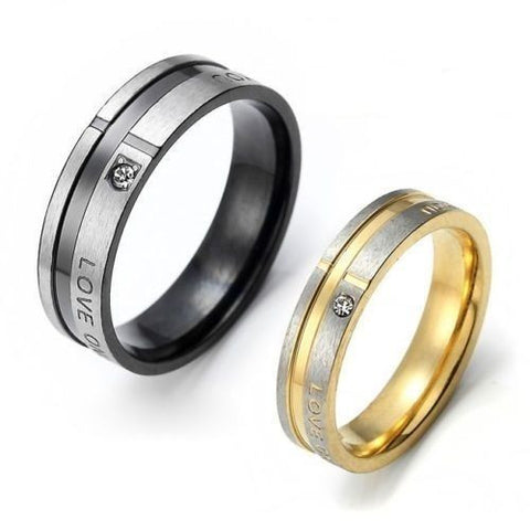 2PCS Love Only You Stainless Steel Couple Ring Promise Anniversary Weddin Rings