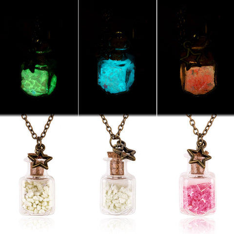 Cute Glow in the dark Luminous Wishing Bottle Sand Star Pendant Necklace Jewelry