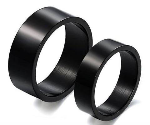 2Pcs Black Titanium Steel Couple Ring Wedding Band Promise Engagement Rings