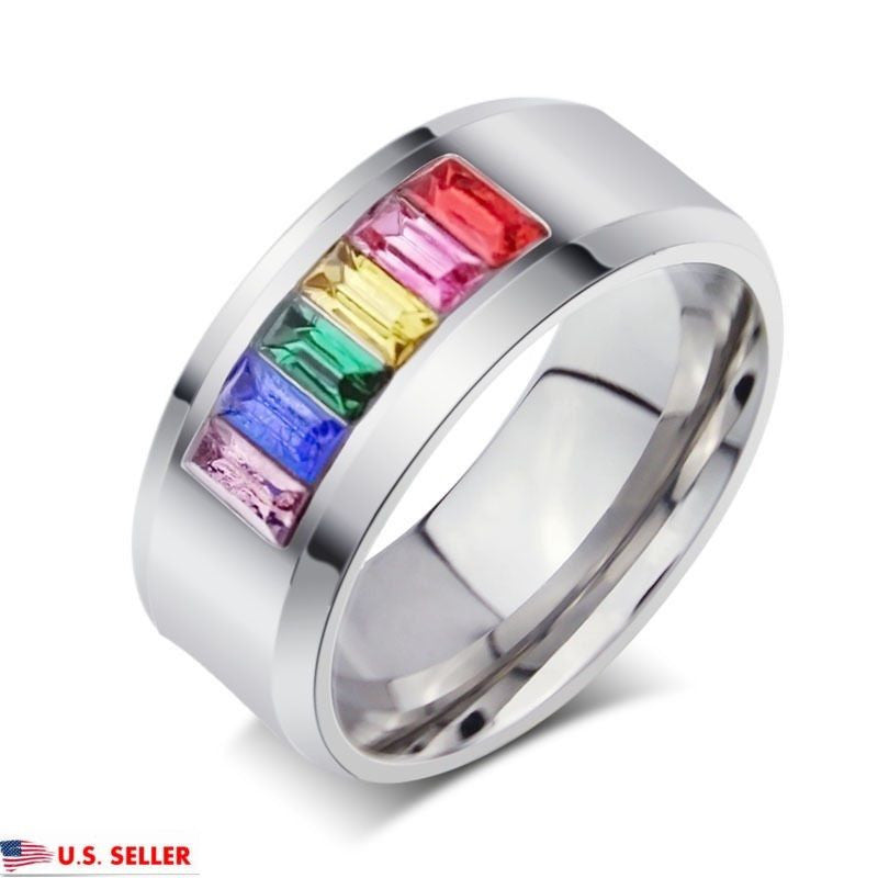 USA Unisex 7MM Stainless Steel Multicolor Rainbow Wedding Engagement Ring Band