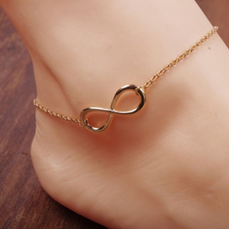 18K Gold Plated Infinity Anklet Chain Women Barefoot Foot Jewelry Anklet Chain
