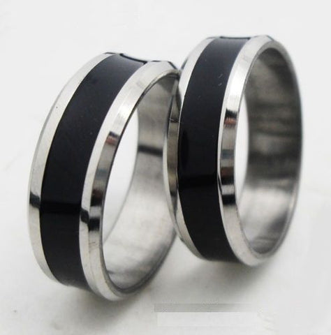2pcs Black & Silver Stainless Steel Ring Promise Engagement Couple Ring Ret