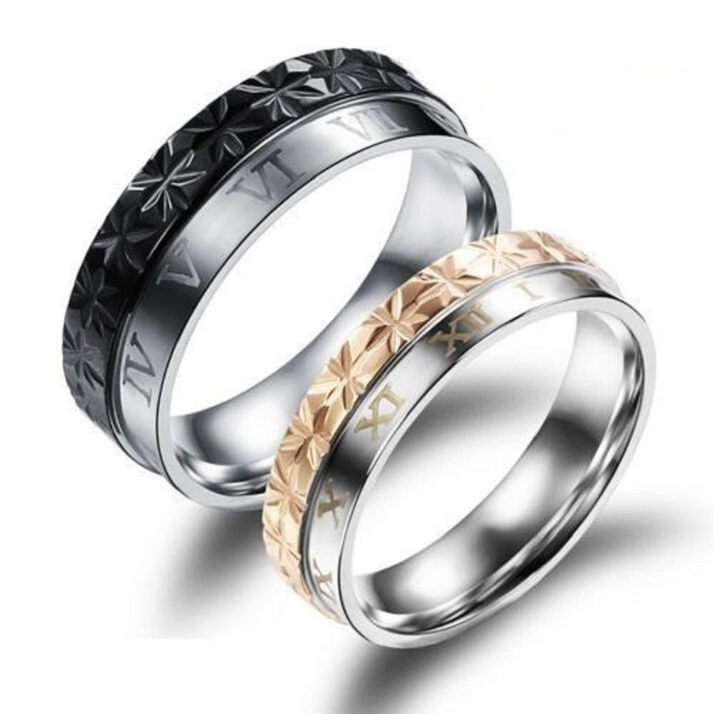 2PCS Roman Numerals Titanium Stainless Steel Couple Matching Wedding Rings Bands