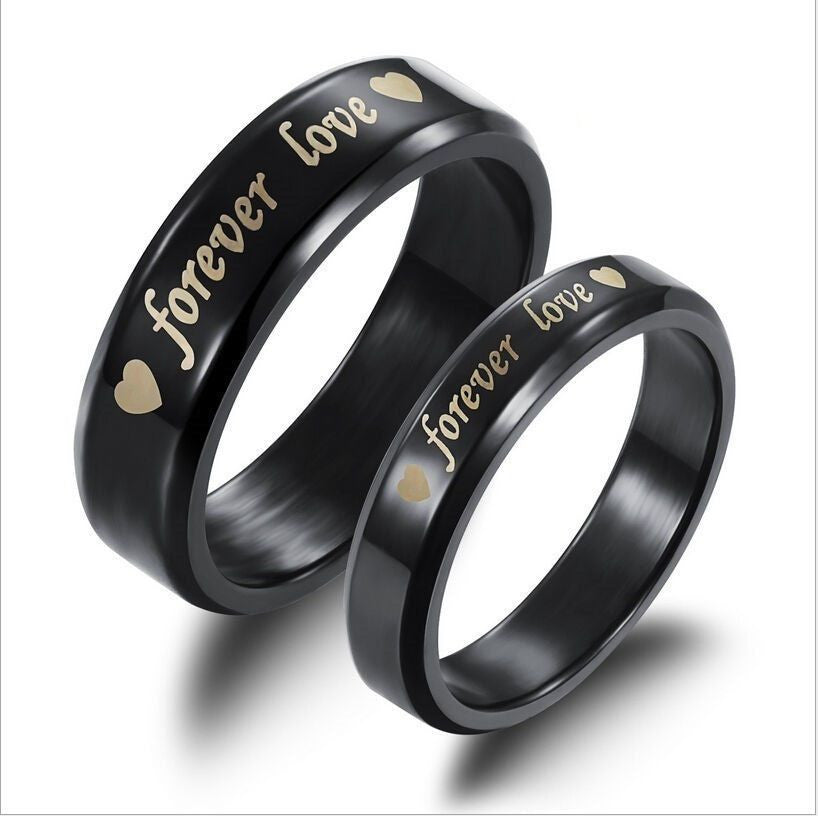 USA 2Pcs Black Forever Love Stainless Steel Couple Ring Engagement Promise rings
