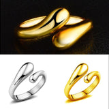 1Pc Gold/Silver Plated Teardrop Double Round Adjustable Waterdrop Thumb Ring