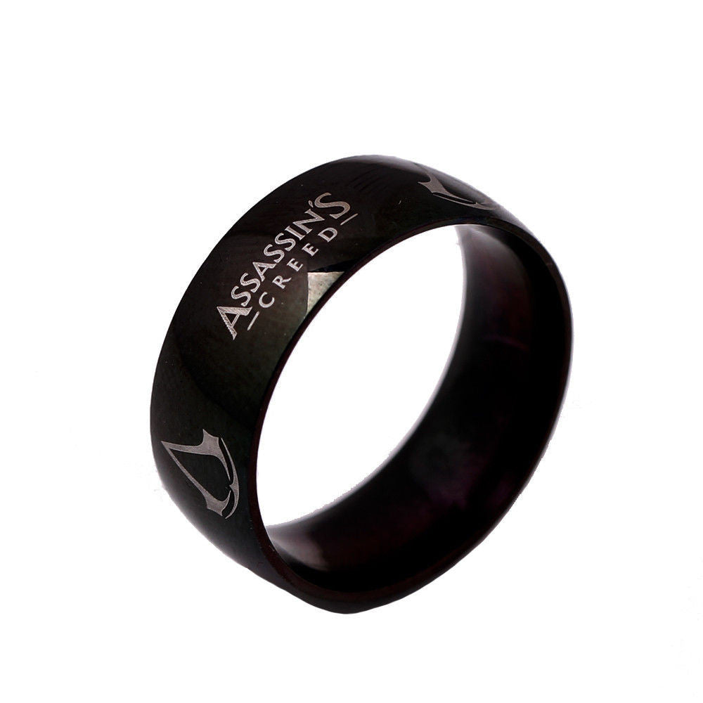 USA Men 8mm Assassins Creed Black Titanium Stainless Steel Ring Band Size 6-13