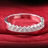 USA New Women's Silver Plated Rhinestone Crown Couple Ring Wedding Jewelry