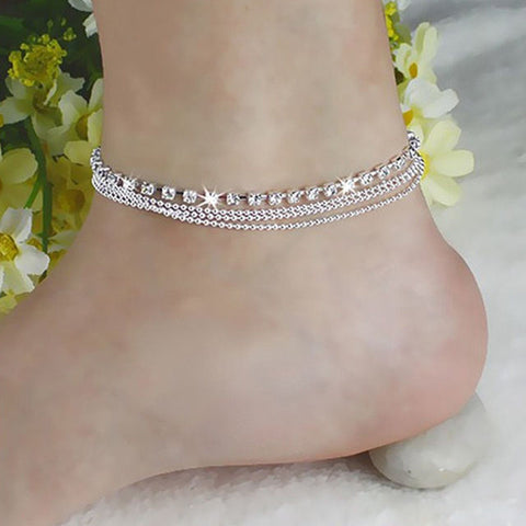 New Sparkly 4 Layers Crystal Beads Sandal Beach Anklet Ankle Chain Foot Jewelry