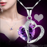 USA Women Heart Crystal Rhinestone Silver Chain Pendant Necklace Fashion Jewelry