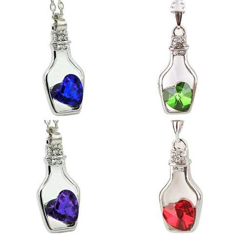 4 Color Silver Plated Women Ladies Fashion Love Crystal Drift Bottles Necklace