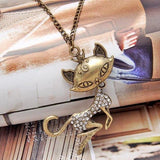 Vintage Sexy Cat Girl Crystal Rhinestone Long Necklace Retro Women Chain Pendant