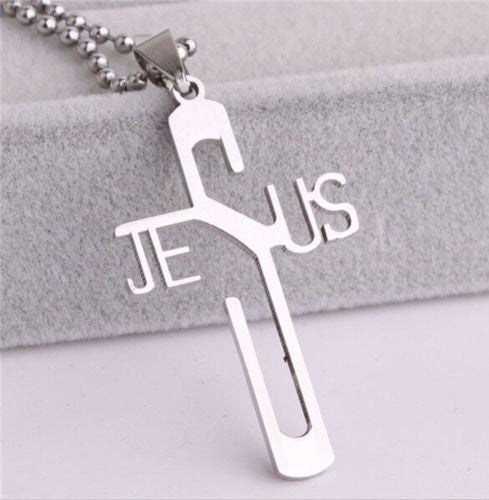 USA Gift Unisex Stainless Steel Cross with Jesus on mark Pendant Chain  Necklace